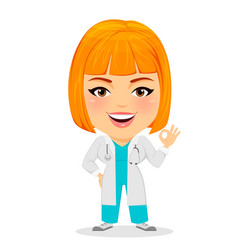 medical doctor woman showing ok sign funny vector image vector image