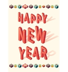 New Year greeting card christmas gift 3d Isometric vector image vector image