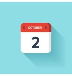 October 2 isometric calendar icon with shadow vector