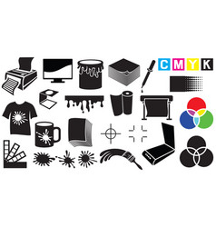 printing icons set vector image