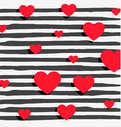 red hearts on black stripes background vector image vector image
