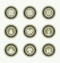 round christmas emblem set vector image vector image