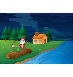 santa clause and elve vector image vector image