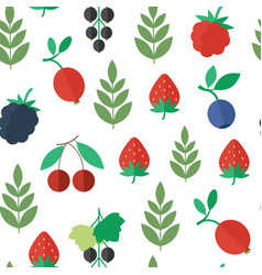 seamless pattern with berries background vector image vector image