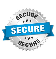 Secure 3d silver badge with blue ribbon vector