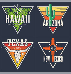 Set of hawaii arizona texas new mexico tee prints vector