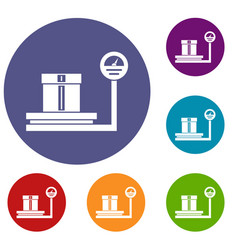 Shop scales icons set vector