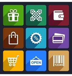 Shopping Flat Icons Set 35 vector image vector image