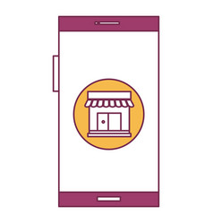 Smartphone device with ecommerce app isolated icon vector