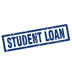 Square grunge blue student loan stamp vector