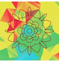 Stylized flower over bright triangles background vector