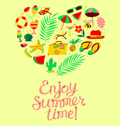 Summer objects set in heart silhouette enjoy vector