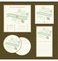 Wedding invitation cards set vector