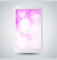 white modern gadget with pink polygonal background vector image vector image