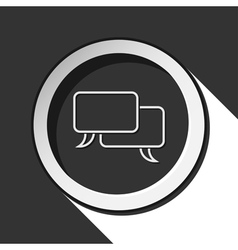 Black white round - outline speech bubbles icon vector