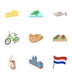 Attractions of holland icons set cartoon style vector