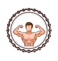 Colorful border with half body muscle man vector
