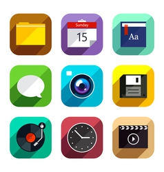 Flat App Icons Set 4 vector image