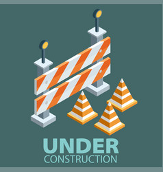 Under construction concept in flat isometric vector