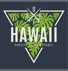 hawaii tee print with with tropical leaves vector image