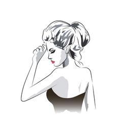 Beautiful woman in dress portrait vector