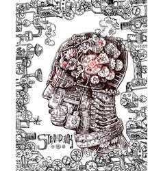 hand drawn mechanical head vector image