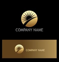 sun rise solar gold logo vector image