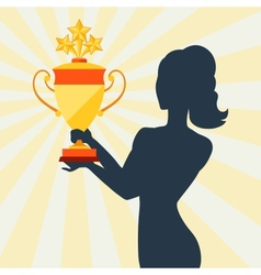 Silhouette of girl holding prize cup vector