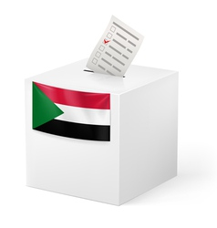 Ballot box with voting paper sudan vector