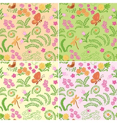 Floral seamless backgrounds with nature elements vector