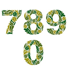 Spring style digits set numbers with eco floral vector