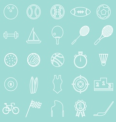 Sport line icons on green background vector
