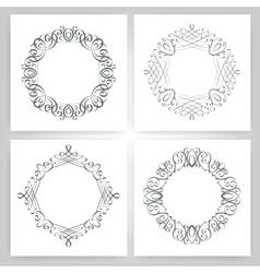 round calligraphic frame monogram vector image