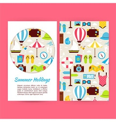 Flat summer holidays banners set template vector