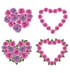 Hearts flower set 02 vector