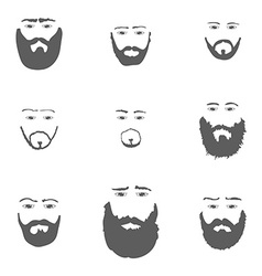 Set of beard isoated on white background vector