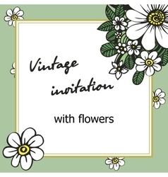 Vintage invitation with flowers for weddings vector