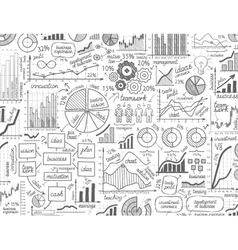 Infographic business graphs doodles vector