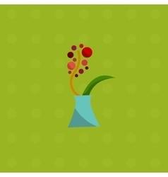 Spring flowers in vase bouquet flat icons vector