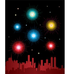 fireworks over a city vector image
