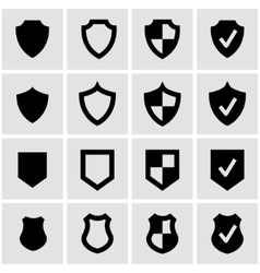 Black shield icon set vector