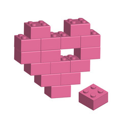 Building bricks in 3d missing part of heart vector