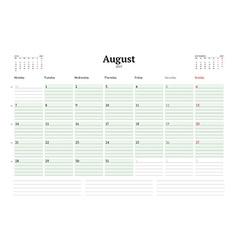 Calendar template for 2017 year august business vector