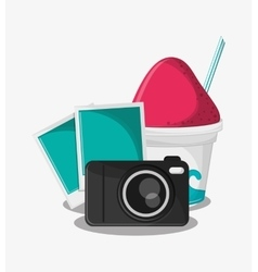 Camera travel and tourism concept vector