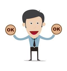 cartoon businessman show ok sign vector image vector image