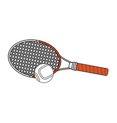 color silhouette cartoon tennis racquet with ball vector image vector image