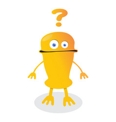 confused emoticon robot with question marks vector image vector image