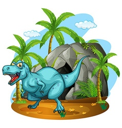 Dinosaur living in the cave vector image