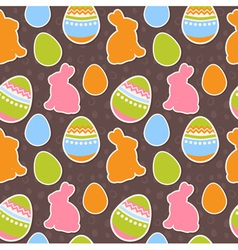 Easter eggs and bunnies colorful seamless pattern vector