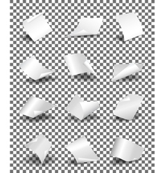 Empty paper sheets on transparent background vector image vector image